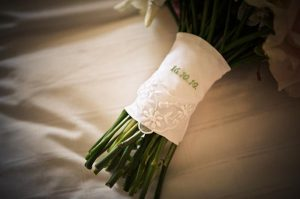 date handkerchief on bridal bouquet