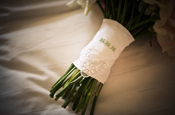 date handkerchief  on bridal bouquet
