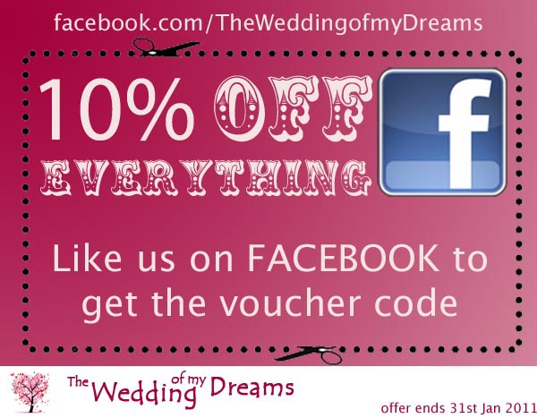 facebook 10 percent off the wedding of my dreams
