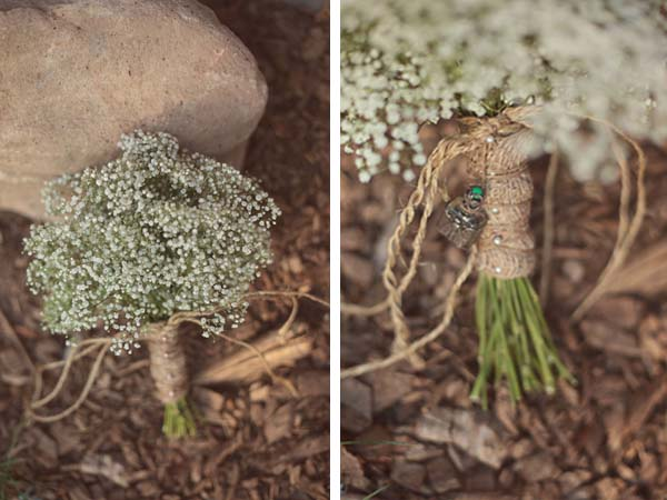gypsophilia bouquet with rustic twine handle