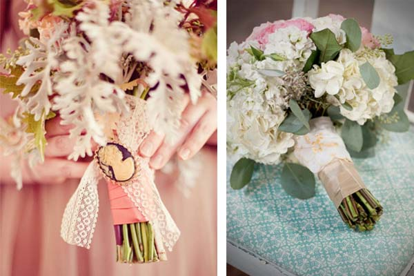 ribbons and details on wedding bouquets
