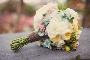 rustic bridal bouquet with buttons
