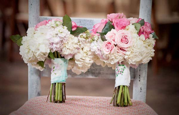 soft pink wedding bouquets with floral wrap