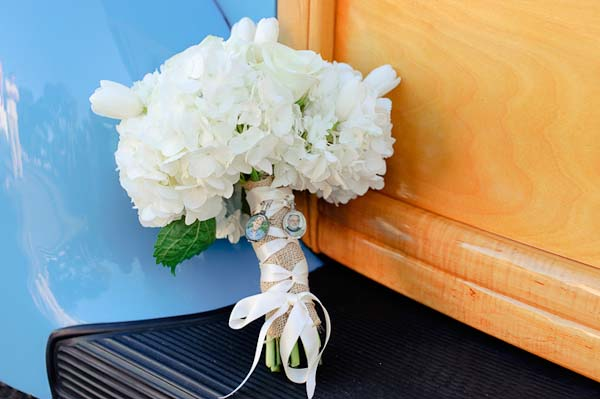 white hydrangea bouquet with ribbon details