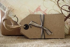 brown card luggage tags vintage wedding place card