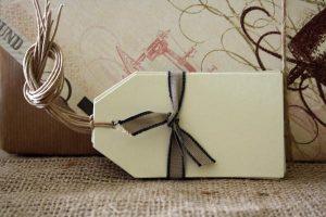 cream card luggage tags vintage wedding place card