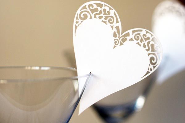 name card for glass wedding place cards
