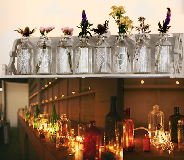 vintage glass vases bottles vintage wedding table decorations
