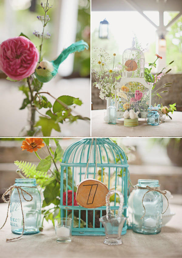 birdcages wedding table centres