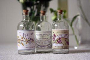 french inspired glass bottles for flowers
