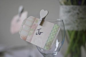 white heart mini pegs for guest place settings