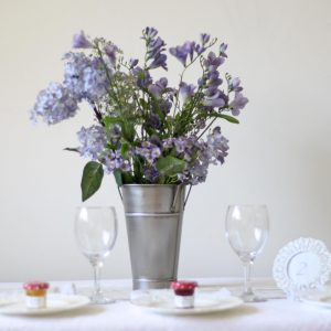 Galvanised Silver Bucket wedding table decoration