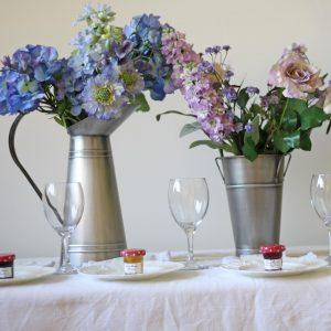 Galvanised Silver Jug and Bucket wedding table decoration