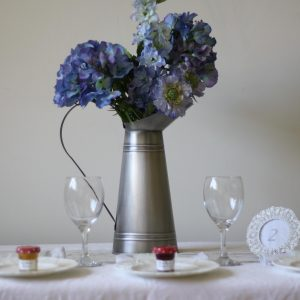 Galvanised Silver Jug wedding table decoration