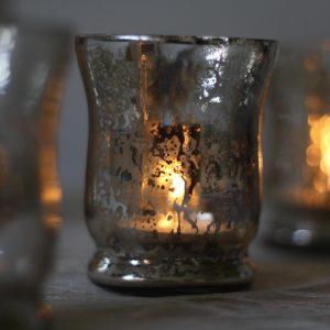 distressed silver tea light holder
