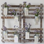 rustic table plan with flower pots