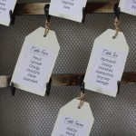 vintage table plan with photos and hooks