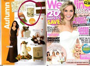 wedding ideas magazine featuring bark candle holder