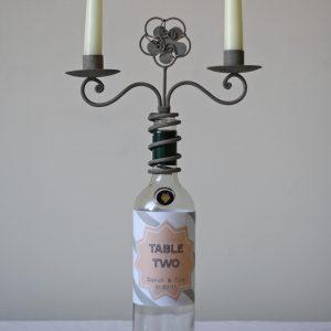 wine bottle candle holder wedding table number holder