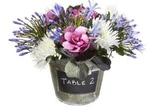blackboard bucket wedding table decoration