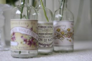 french glass bottles wedding table decorations