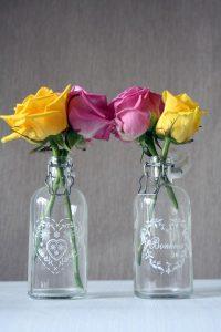vintage glass bottles wedding table decorations