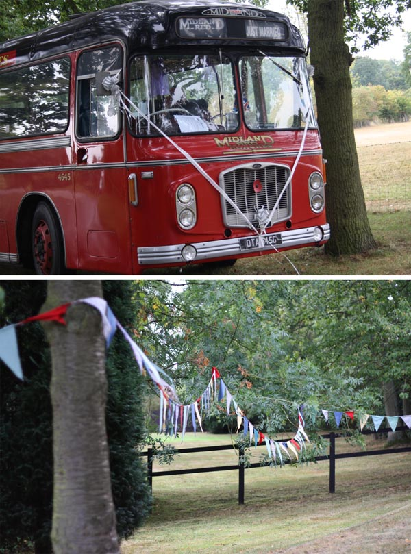 vintage red wedding bus and bunting