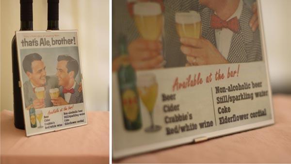 vintage wedding bar menu