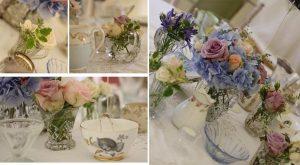 vintage wedding flowers in glass biscuit barrels