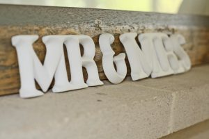 mr and mrs hand carved wooden sign
