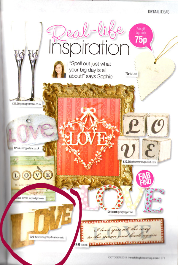 Wedding Ideas Magazine LOVE Sign Gold