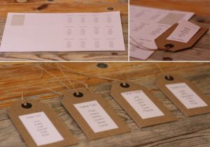 DIY table plan with luggage tags