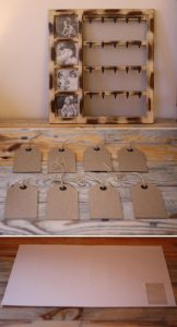 DIY table plan with photos and luggage tags