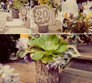 bark wedding table decorations