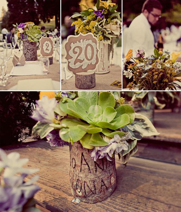 Wooden bark centrepieces wedding decoration inspiration