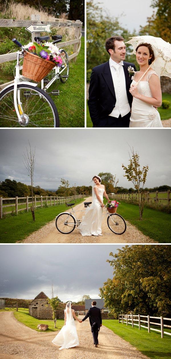 country farm house wedding venue tandem bicycle