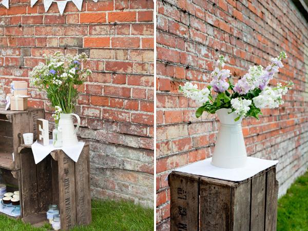 cream jug wedding centrepiece