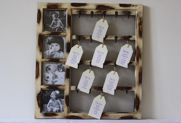 table plan with photos and hooks