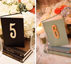 unique wedding table numbers vintage books