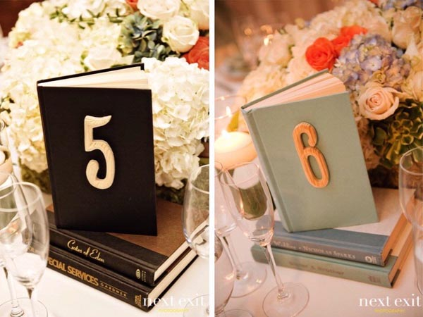 Unique wedding table numbers vintage books the