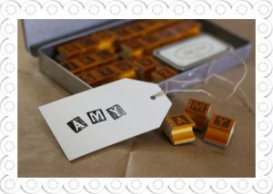 alphabet stamps and ink pad