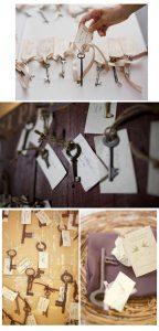 keys wedding decorations escort cards