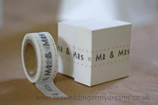 mr and mrs sticky tape for wedding favours