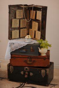 suitcase wedding table plan