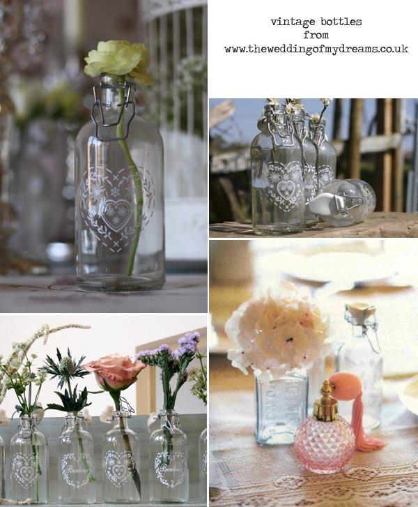vintage bottles for wedding table decorations