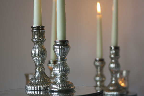 Mercury Silver Candle Sticks