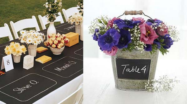 blackboard wedding table decorations