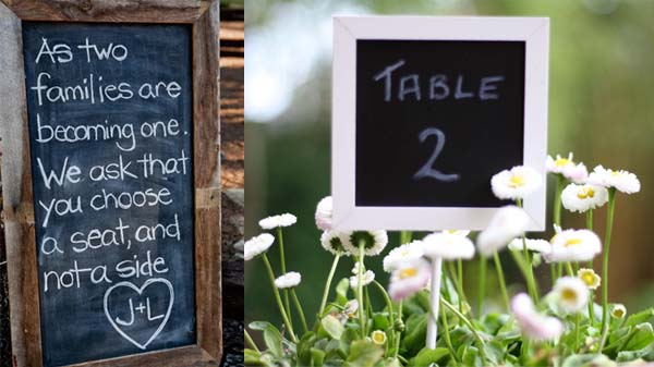 blackboard wedding table numbers