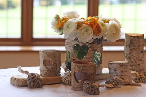 rustic bark wedding decorations