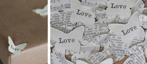 vintage paper confetti butterfly
